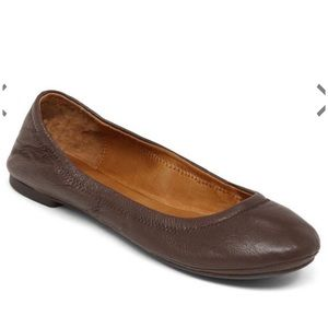 Lucky Brand Emmie Flats Dark Brown Stitched Back
